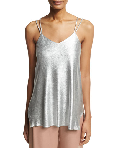 Double-Strap Metallic Jersey Cami, Gray Metallic