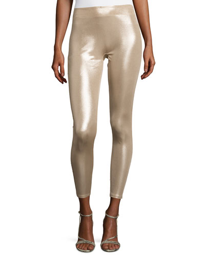 Slim-Fit Metallic Jersey Leggings, Champagne