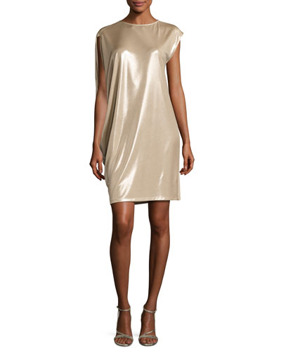 Asymmetric-Sleeve Metallic Jersey Dress