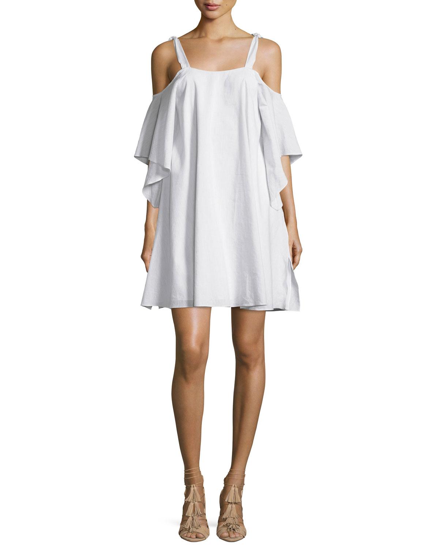 Flowy Short-Sleeve Cold-Shoulder Trapeze Dress, Light Gray