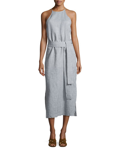 Sleeveless High-Neck Striped Cami Dress w/ Sash, Multi