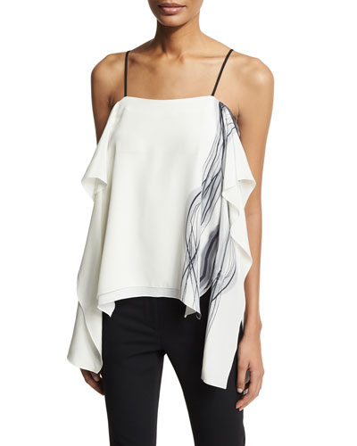 Printed Draped Silk Camisole