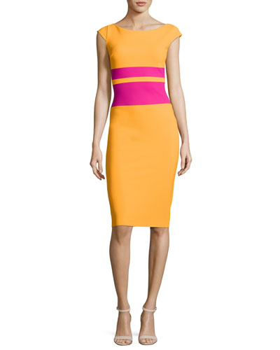 Sumatra Colorblock-Waist Sheath Dress