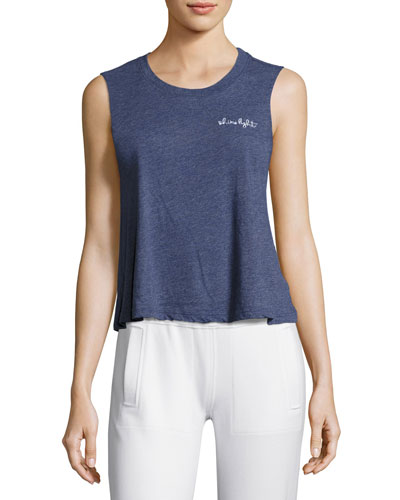 Shine Light Embroidered Tank Top, Medium Blue