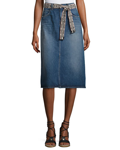 The Slit Belted Denim Midi Skirt, Rincon