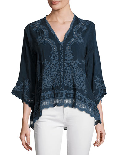 Embroidered V-Neck Blouse, Petite