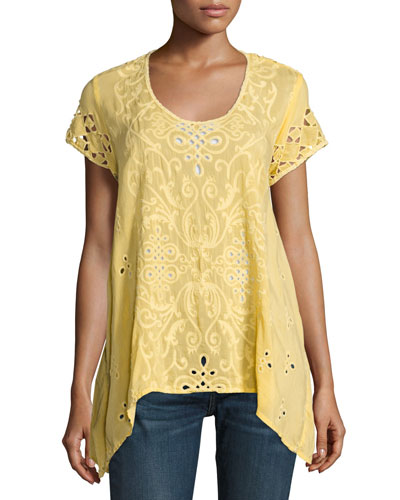 Wicktoria Georgette Eyelet Top, Soft Citron, Plus Size