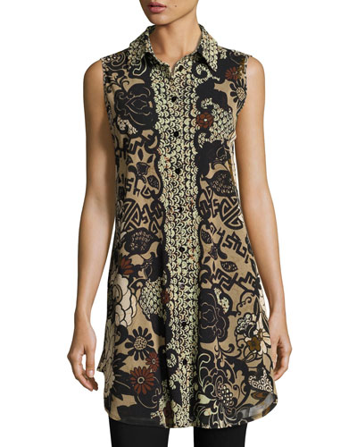 Sleeveless Button-Front Tulle Tunic, Black Pattern