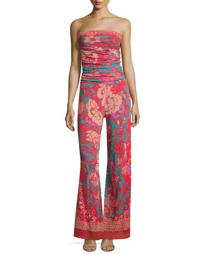 Dragonessa Strapless Tulle Jumpsuit, Pink Pattern