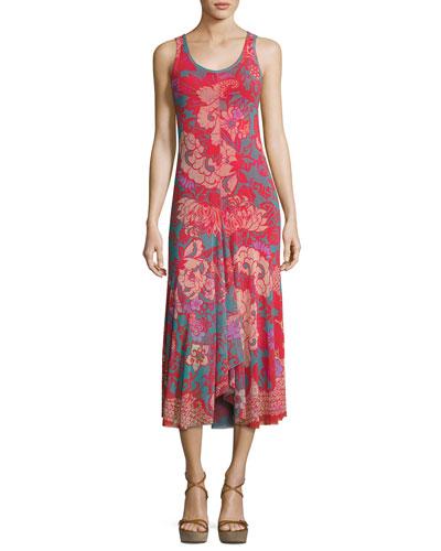 Floral-Print Tulle Midi Tank Dress, Pink Pattern