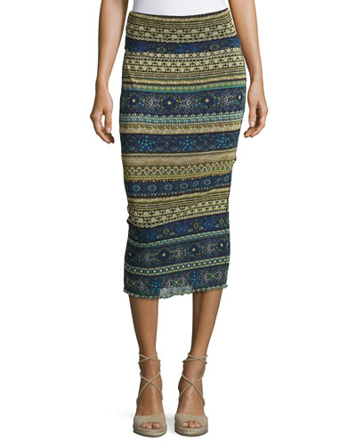 Striped Tulle Midi Tube Skirt, Blue Pattern