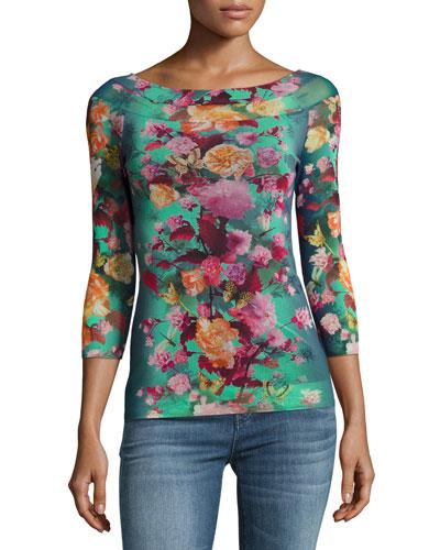 Floral-Print Illusion-Shoulder Tulle Top, Blue Pattern