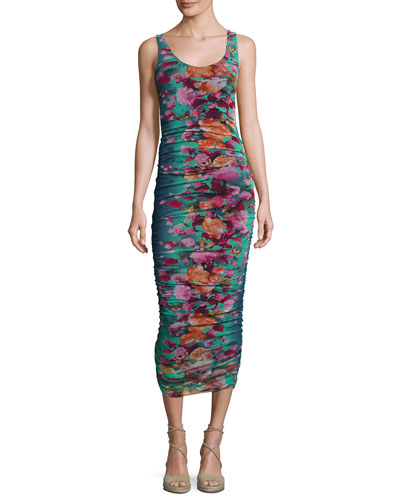 Floral-Print Ruched Tank Dress, Blue Pattern