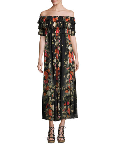 Floral Off-the-Shoulder Ruffled Maxi Dress, Black