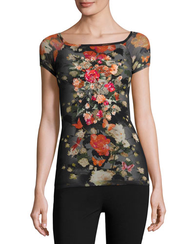 Short-Sleeve Embroidered Floral Tulle Top