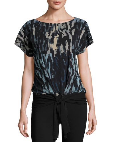 Short-Sleeve Tie-Waist Abstract-Print Top, Black/Blue