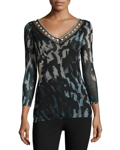 Embroidered V-Neck Abstract-Print Tulle Top, Black/Blue
