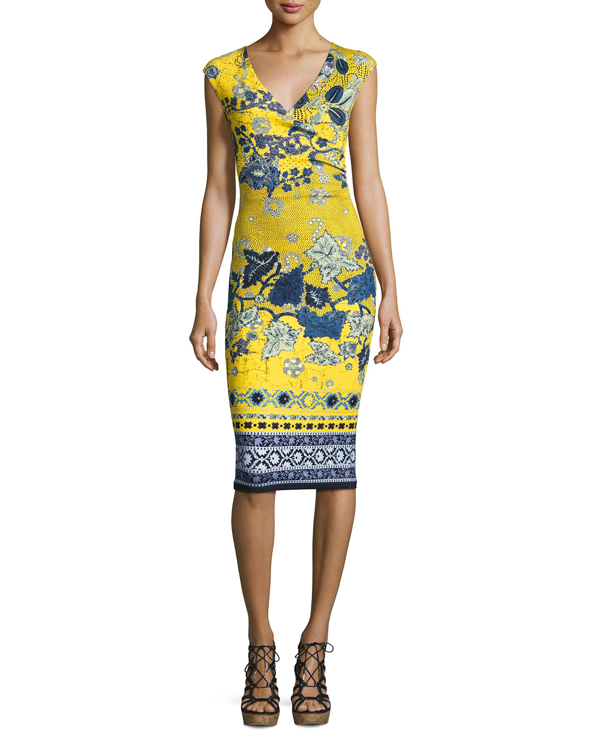 Sleeveless Batik Scuba Dress, Yellow/Blue
