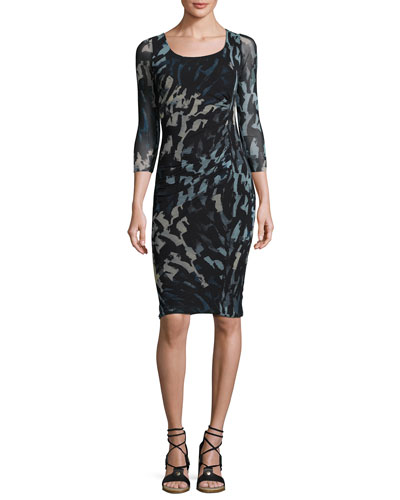 3/4-Sleeve Abstract-Print Ruched Sheath Dress, Black/Blue