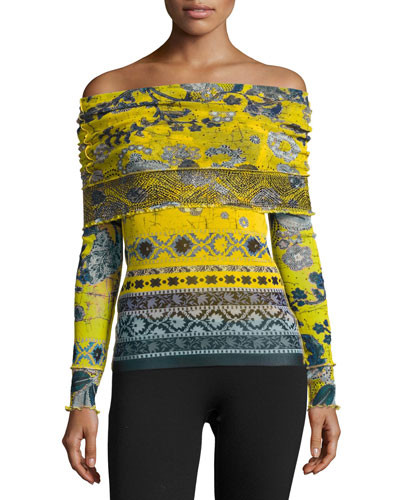 Off-the-Shoulder Batik Tulle Top, Yellow/Blue