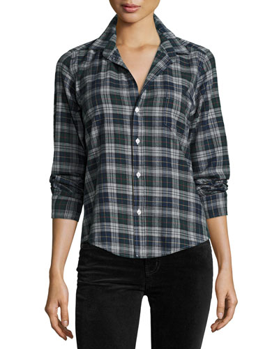 Barry Plaid Oxford Shirt, Green/Navy Blue