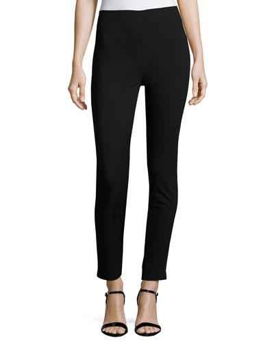 High-Waist Stretch-Knit Pants, Black