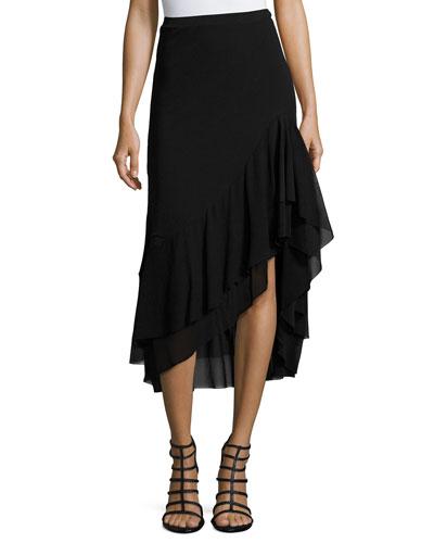 Asymmetric Ruffled Tulle Midi Skirt, Black