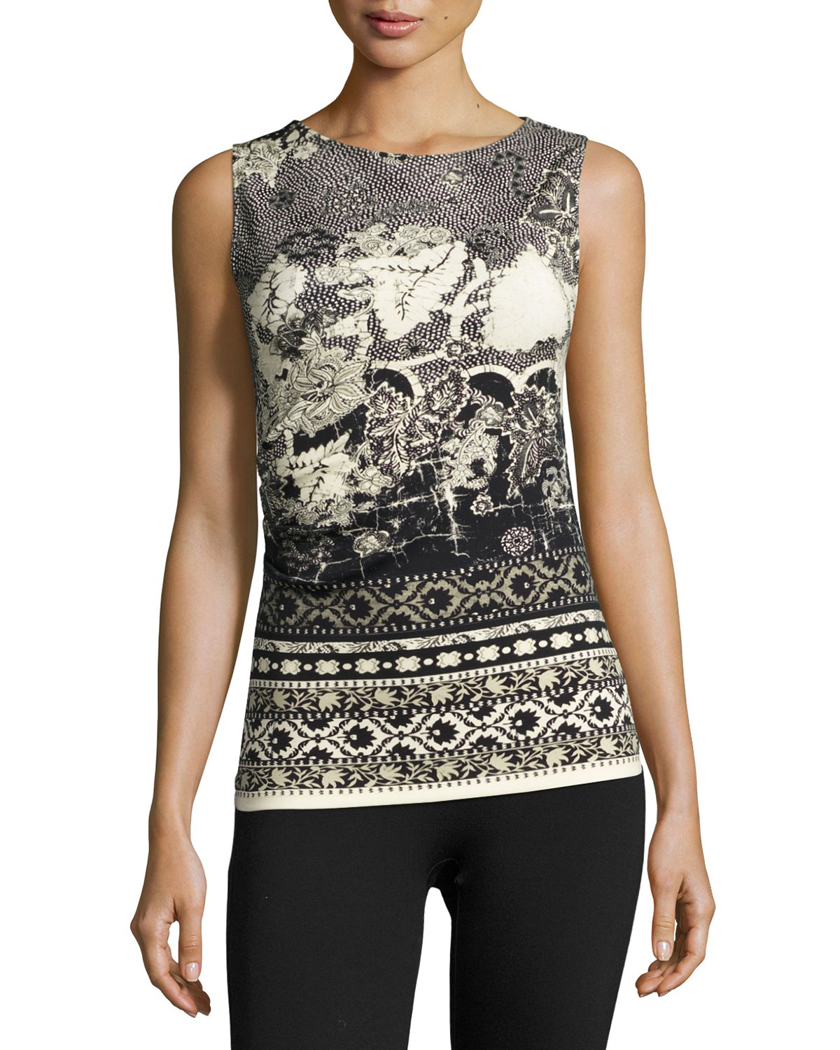 Sleeveless Ruched Batik Scuba Top, Black/White