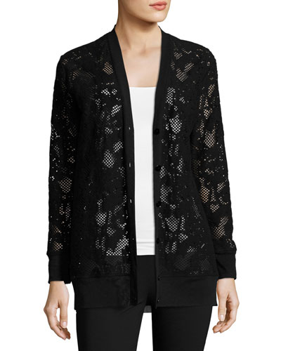 Lace Boyfriend Cardigan, Black