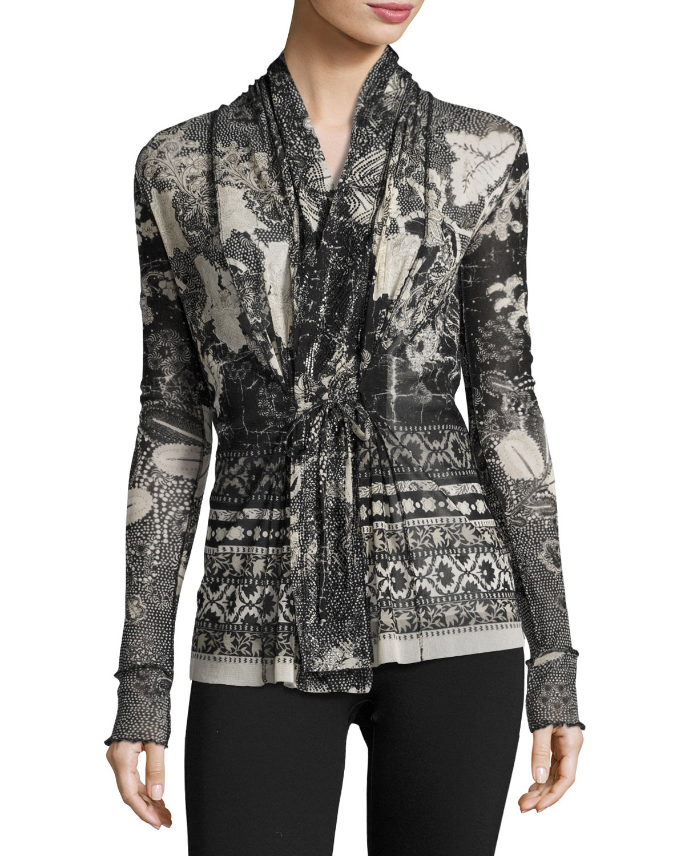 Tie-Front Batik Tulle Cardigan