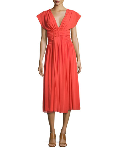V-Neck Ruched-Waist Tulle Midi Dress, Coral