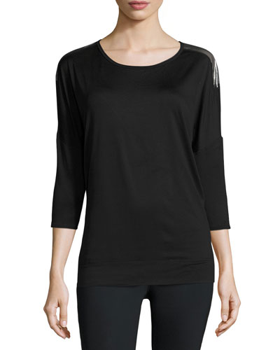Tranquility Metallic-Back Performance Tunic, Black