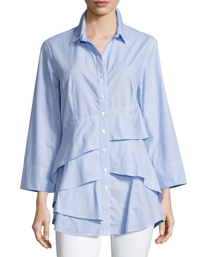 Jenna Chambray Tiered-Ruffle Blouse, Blue/White