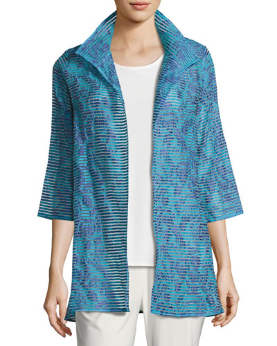 Tonal Ribbon Topper Jacket, Blue