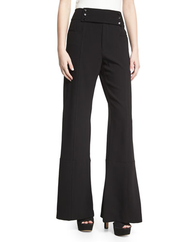 Paneled Crepe Flare Trousers, Black