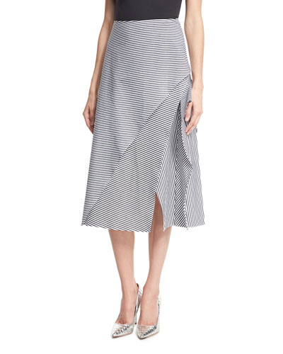 Striped Asymmetric A-Line Midi Skirt, Black/White