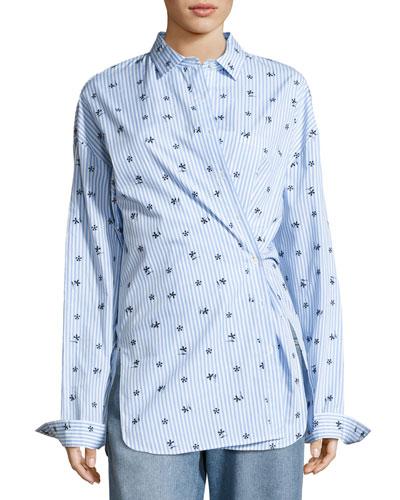 Floral-Emrboidered Striped Shirt, Blue/White
