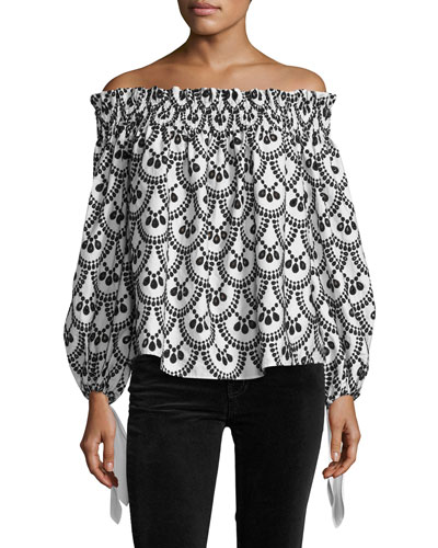 Lou Off-the-Shoulder Embroidered Top, Black/White