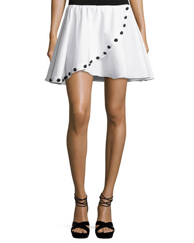 Button Crossover Mini Skirt, White
