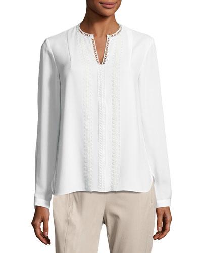 Lilianna Long-Sleeve Lace-Trim Blouse, White