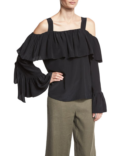 Cold-Shoulder Silk Ruffle Top, Black