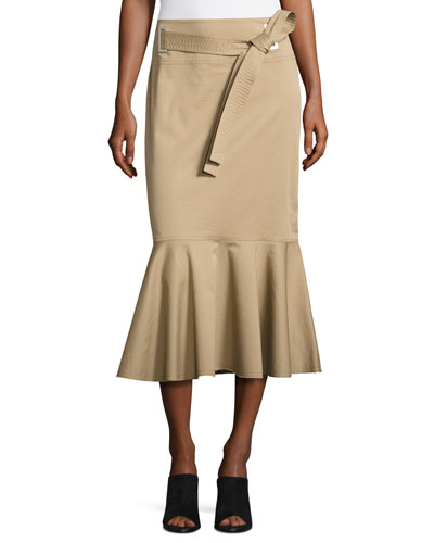 Belted Flounce Midi Skirt, Tan