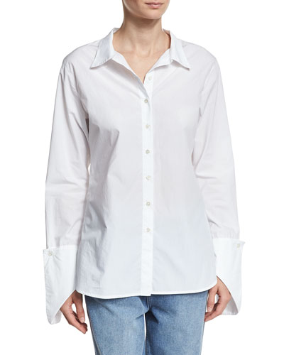 Fold-Over Cuff Shirt, White