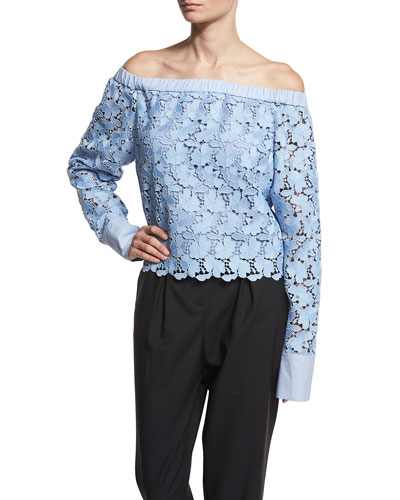 Lace Off-the-Shoulder Long-Sleeve Top, Blue