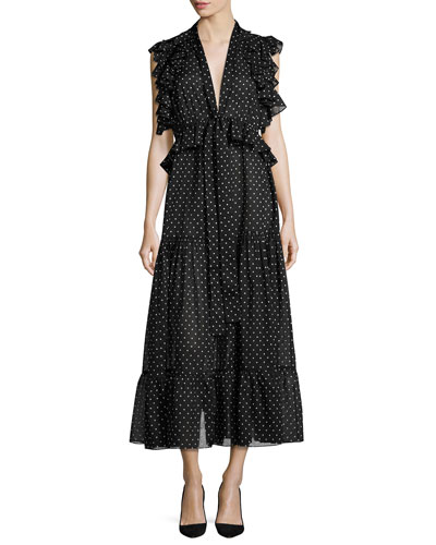 Polka Dot Midi Dress, Black