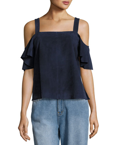 Suede Cold-Shoulder Ruffle-Sleeve Top, Blue