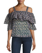 Floral-Print Cold-Shoulder Top, Multicolor Pattern