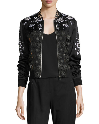 Brandy Floral Lace Bomber Jacket, Black
