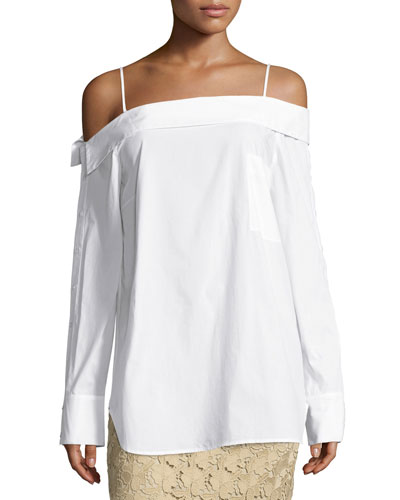 Off-the-Shoulder Poplin Top, White