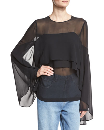 Tiered Ruffle Silk Chiffon Bell-Sleeve Top, Black